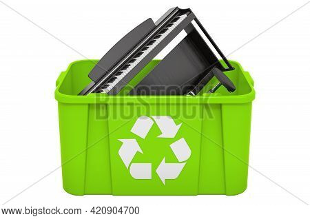 Recycling Trashcan With Digital Piano. 3d Rendering Isolated On White Background