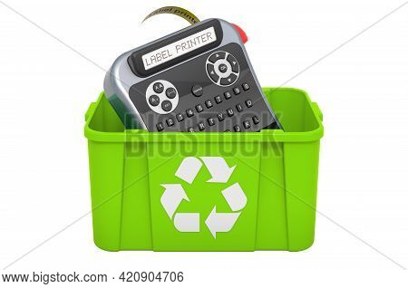 Recycling Trashcan With Label Printer. 3d Rendering Isolated On White Background
