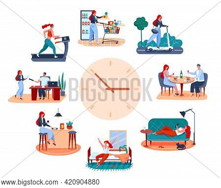 Woman Routine. Eating Breakfast, Going To Work, Working Out, Having Romantic Dinner. Young Girl Dail