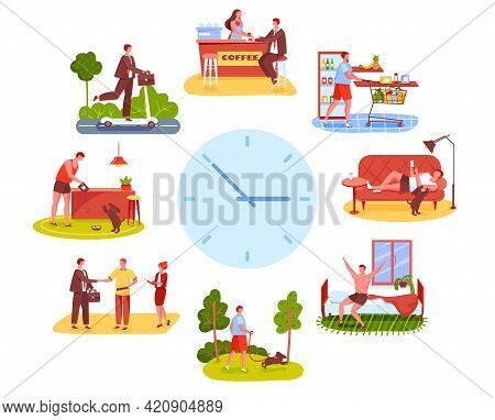 Man Routine. Shopping Groceries, Working At Office, Going On Walk With Dog. Active Young Guy Everyda