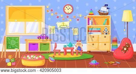 Kindergarten Room. Preschool Children Playroom Interior With Toys, Bookshelves, Blackboard And Furni