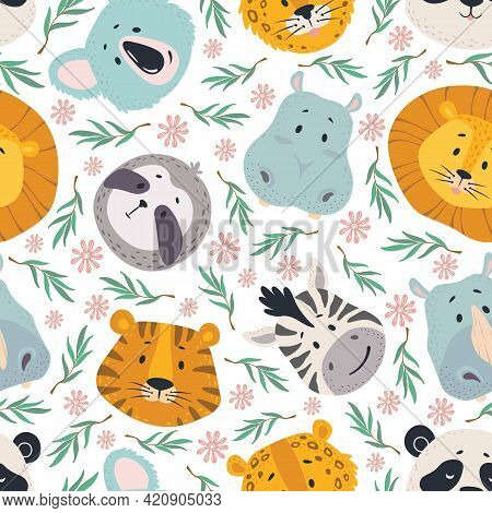 Animals Head Seamless Pattern. Cute Lion, Tiger Zebra, Koala And Hippo, Sloth And Leopard Faces. Kid