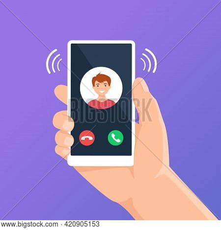 Incoming Call On Phone Screen. Hand Holding Smartphone With Call App Interface On Display. Accepting