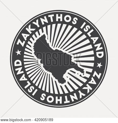 Zakynthos Island Round Logo. Vintage Travel Badge With The Circular Name And Map Of Island, Vector I