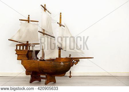 Model Of Wooden Sailing Ship For Decoration. Classic And Vintage Sailboat Style. Vessel Model. The F