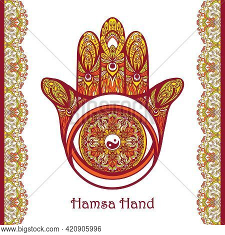 Colored Arabic Amulet Hamsa Hand With Flower Ornament Vector Illustration