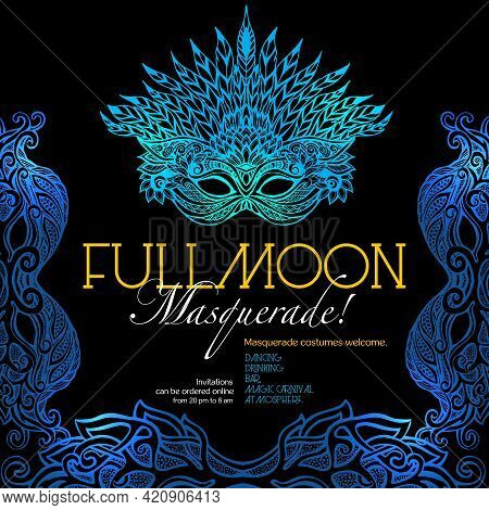 Masquerade Ball Party Invitation Poster With Retro Style Venetian Mask On Dark Background Vector Ill