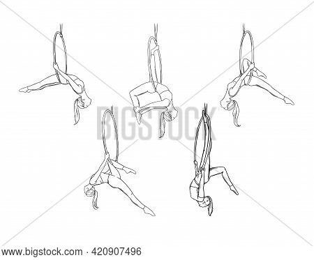 Circus Girl Gymnast Performing Air Dance. Aerial Acrobat Isolated In White Background. Sketch Vector