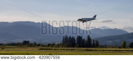 Pitt Meadows, Greater Vancouver, British Columbia, Canada - May 16, 2021: Small Charter Airplane Fly