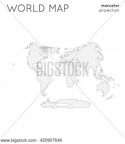 World Map. Globe In Laskowski Projection, Plain Style. Outline Vector Illustration.