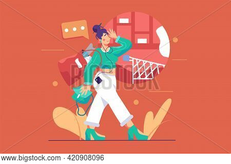 Happy Woman Walks From Store Vector Illustration. Girl With Full Bags Going From Shops Flat Style. W