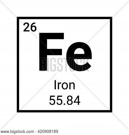 Iron Element Periodic Table Chemistry. Iron Symbol Atomic Vector Sign Fe Vitamin