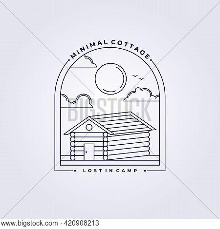 Simple Line Cabin Logo Cottage Lodge Lodging Homestead Vector Illustration Barn Design