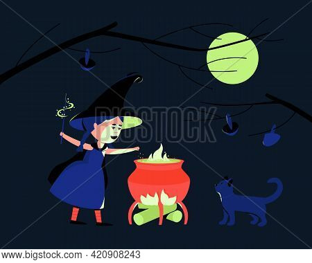 Little Cute Witch Prepares A Magic Potion. The Girl Is Wearing A Costume For Halloween Hat And Cloak