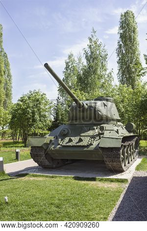 Nizhny Novgorod, Russia - May 17 2021: Soviet  Tank T-34 Participant Second World War In Summer Colo