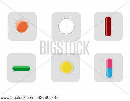 Vector Illustration Of A Set Of Different Pills, Packed In Blisters, One By One. Dosage.