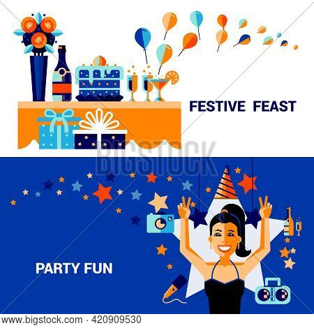 Horizontal Celebration Banners With Items Of Festive Feast  Fun Party Elements And Smiling Girl Vect
