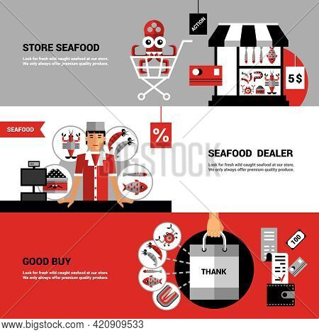 Flat Horizontal Banners Collection On Theme Sale Of Seafood With  Store Seafood Products Buyer Set A