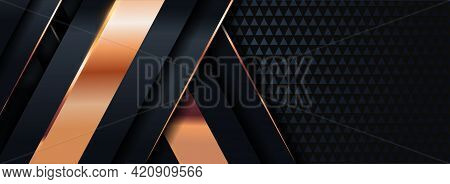 Abstract Geometric Black Background With Golden Lines Element Overlap Layered Element Combination. G