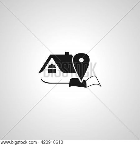 House Location Simple Vector Icon. House Location Icon