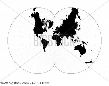 World Map With Latitude Lines. August's Epicycloidal Conformal Projection. Plan World Geographical M