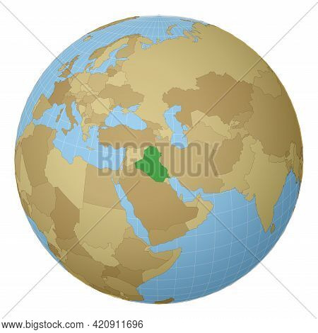 Globe Centered To Republic Of Iraq. Country Highlighted With Green Color On World Map. Satellite Pro