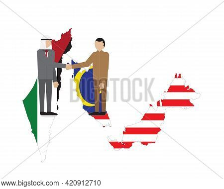 A Vector Of Men From Palestine And Malaysia Making A Deal. Malaysia Have Good And Long Relationship