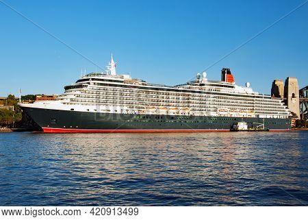 Luxury Cruise Liner In Sydney Harbour, Australia