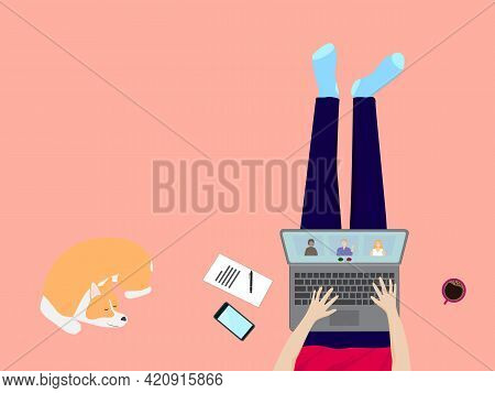 Work At Home, Quarantine, Stay At Home Concept. Top View Of Freelancer Working Online, Meeting Confe