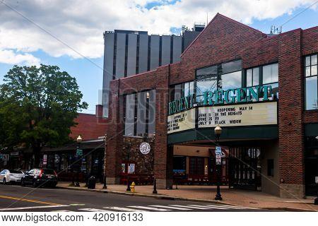 NORWALK, CT, USA - MAY 13, 2021: SONO  Regent  cinema building facade view from street