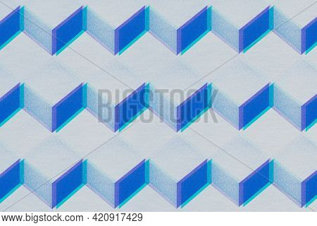 3D gray and blue paper craft cubic patterned background