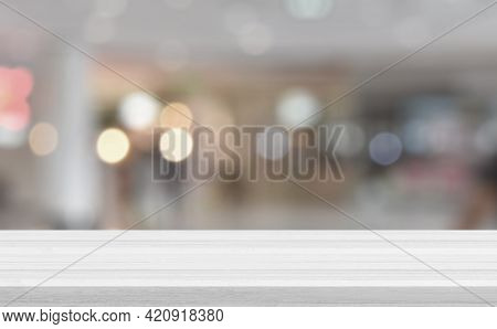 Empty White Wood Tabletop, Desk Over Blur Soft Light In Restaurant Bokeh Background, Wood Table For