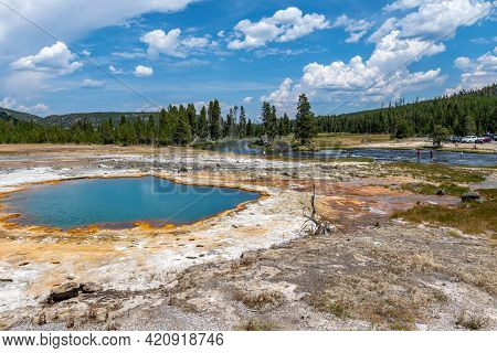 The Black Opal Springs In Yellowstone National Park, Wyoming