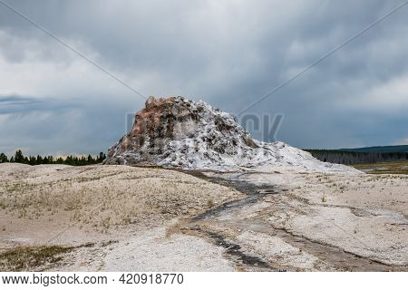 The White Dome Geyser In Yellowstone National Park, Wyoming