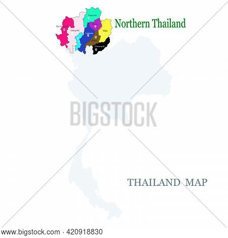 Maps Of Northern Thailand With 9 Province In Different Colors, Chiang Mai, Chiang Rai, Phrae, Phayao