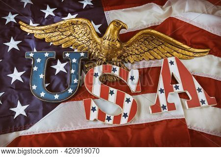 Happy Us. Patriotism Federal Holiday Of Labor Day Memorial Day With Text Usa In The American Bald Ea