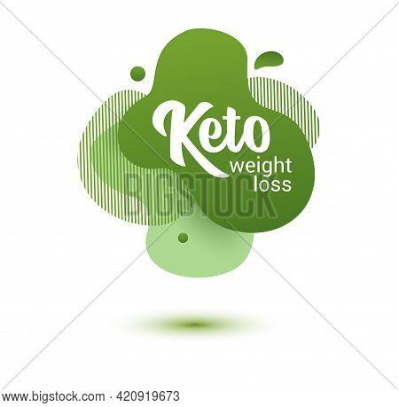 Keto Frendly Badge. Green Amoeba Design Of Sticker For Keto Diet Menu, Poster, Flyer.