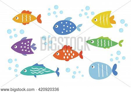 Colorful Cartoon Sea Fish Set. Flat Vector Isolated Illustration On White Background. Exotic Tropica