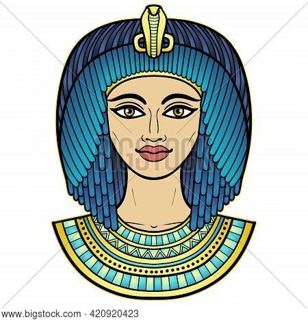 Animation Color Portrait Of Beautiful Egyptian Woman In Ancient Hairstyle. Queen Or Princess Goddess