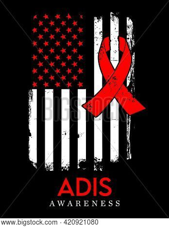 Hiv Adis Awareness American Distressed Flag Vector