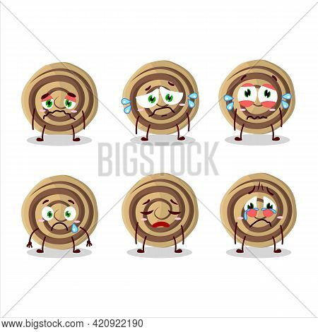Cookies Spiral Cartoon Character With Sad Expression