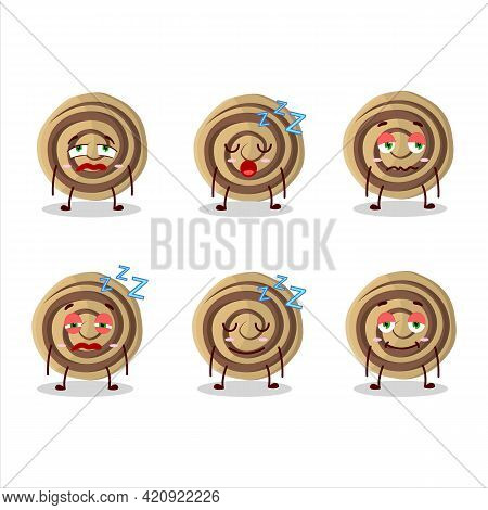 Cartoon Character Of Cookies Spiral With Sleepy Expression