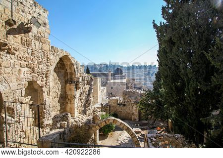 View From The Ancient Walls Of Jerusalem Old City Of Temple Mount And Mount Of Olives