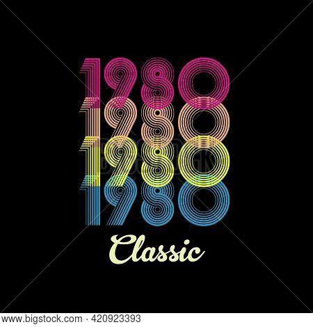 1980 Vector Vintage Retro Tshirt Design Black Background