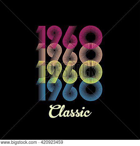 1960 Vector Vintage Retro Tshirt Design Black Background