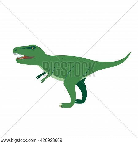 Cute Cartoon Doodle Tyrannosaurus, Isolated On White Background.
