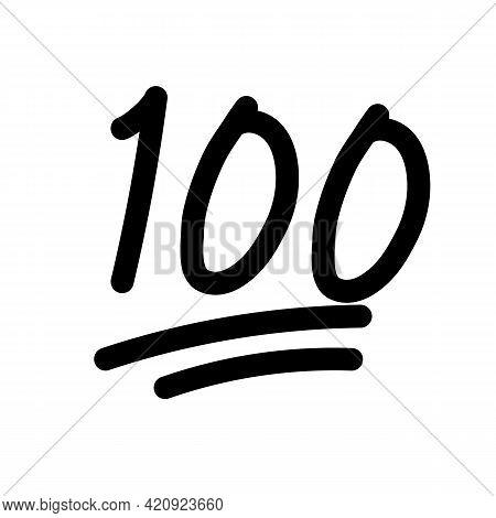 100 Hundred Emoticon Icon On White Background. 100 Emoji Score Sticker. 100 Sign. Flat Style.