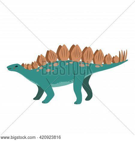 Cute Cartoon Doodle Stegosaurus, Isolated On White Background.