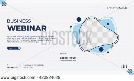 Business Webinar Banner Template For Website With Liquid Frame And Geometric Shape Concept