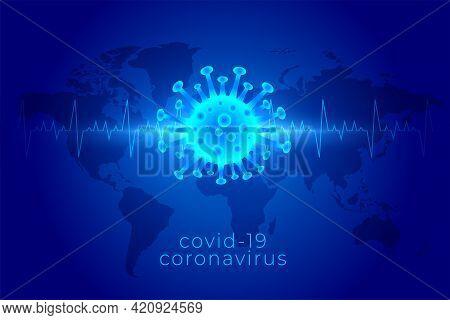 Covid19 Coronavirus Global Pandemic Background In Blue Shades